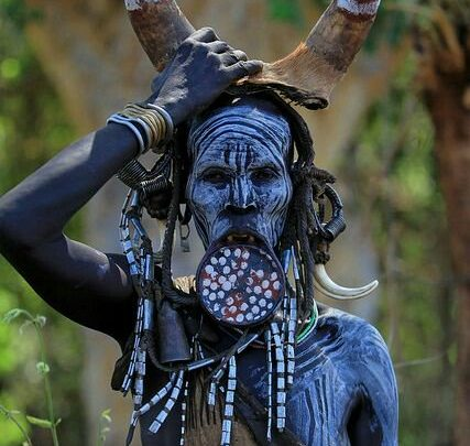 Mursi Women from Ethiopia Wearing Clay Plates as a Sign of Beauty