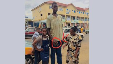 The Tallest Man From Volta Region in Ghana Appeals For a Tailored Footwear